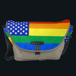 """LGBT Rainbow American Flag Courier Bag<br><div class=""""desc"""">A LGBT style American flag complete with the stars and stripes of rainbow colours.</div>"""