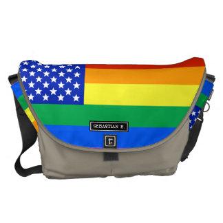 LGBT Rainbow American Flag Courier Bag