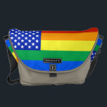 "LGBT Rainbow American Flag Messenger Bag<br><div class=""desc"">A LGBT style American flag complete with the stars and stripes of rainbow colours.</div>"