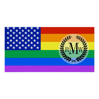 LGBT Rainbow American Flag Poster