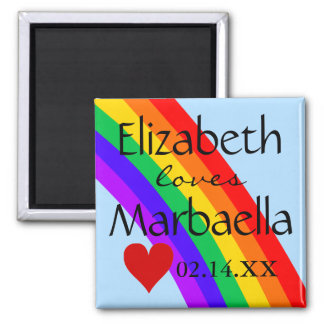 LGBT Rainbow and Heart Magnet