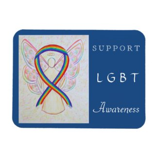 LGBT Rainbow Awareness Ribbon Angel Magnet