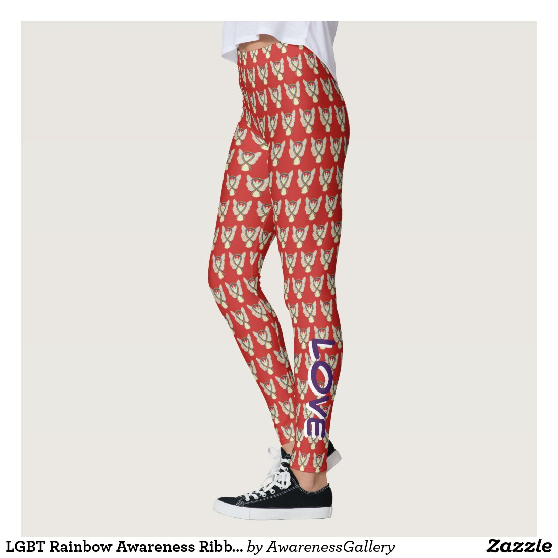 LGBT Rainbow Awareness Ribbon Custom Leggings