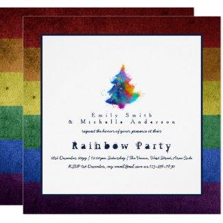 LGBT Rainbow Christmas Tree Party Gay Pride Invitation