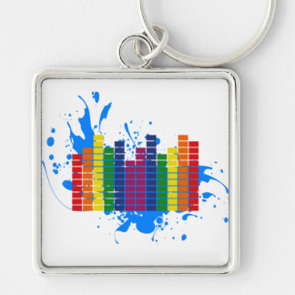 LGBT Rainbow Equalizer Silver-Colored Square Keychain