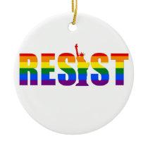 LGBT Rainbow Flag Resist Gay Pride Equal Rights Ceramic Ornament