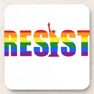 LGBT Rainbow Flag Resist Gay Pride Equal Rights Drink Coaster