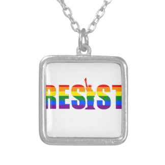 LGBT Rainbow Flag Resist Gay Pride Equal Rights Silver Plated Necklace