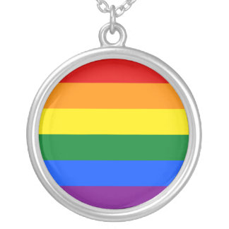 LGBT Rainbow Flag Round Pendant Necklace