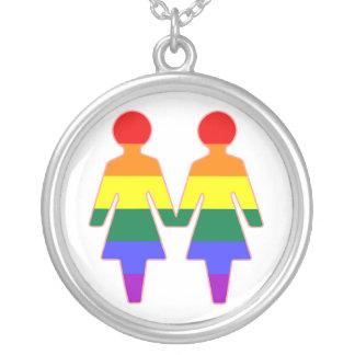 lgbt rainbow girls round pendant necklace