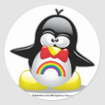 LGBT Rainbow Penguin Classic Round Sticker