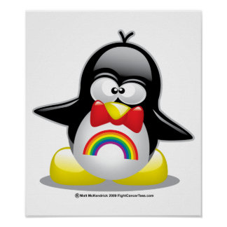 LGBT Rainbow Penguin Print