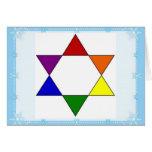 LGBT Rainbow Pride Jewish Star Chanukah Card