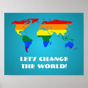 Rainbow world map art wall dcor zazzle lgbt rainbow pride world map poster gumiabroncs Gallery