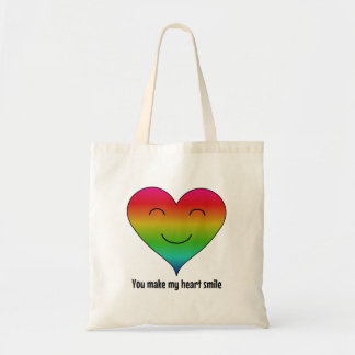 LGBT rainbow you make my heart smile Tote Bag