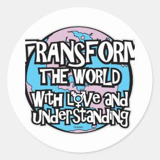 LGBT transforman el mundo Pegatina Redonda