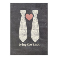 LGBT Tying the Knot Faux Chalkboard Gay Wedding Invitation