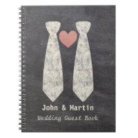 LGBT Tying the Knot Faux Chalkboard Gay Wedding Notebook