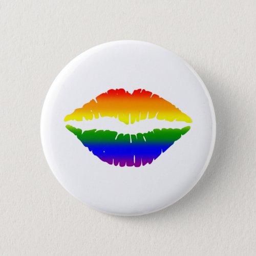 LGBTQ Kiss Lips Rainbow Button
