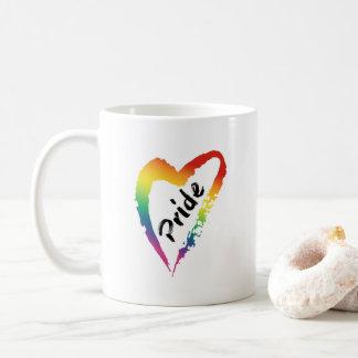 LGBTQ Pride Coffee Mug Rainbow Heart