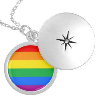 LGBTQ Pride Flag Round Locket Necklace