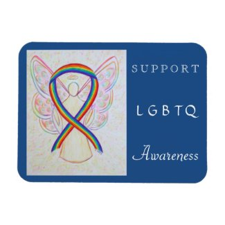 LGBTQ Rainbow Awareness Ribbon Angel Magnet