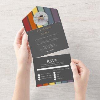 LGBTQ Rainbow Gay Elegant All In One Invitation