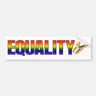 LGBTQ Rainbow Marriage Equality Gold Rings Bumper Sticker