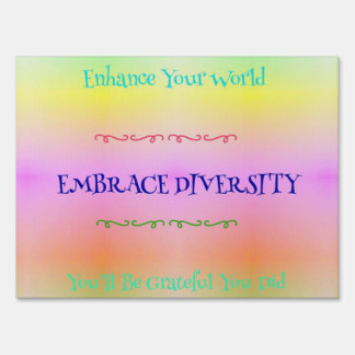 #LGBTQA Pride Pastel Rainbow  Embracing Diversity Lawn Sign