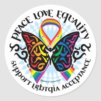 LGBTQIA Butterfly Tribal Classic Round Sticker