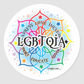 LGBTQIA Lotus Etiquetas Redondas