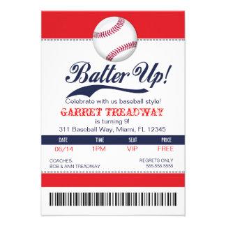 LGC Batter Up Baseball Ticket 2nd Version Invite