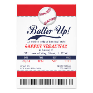LGC Batter Up Baseball Ticket 2nd Version Invite