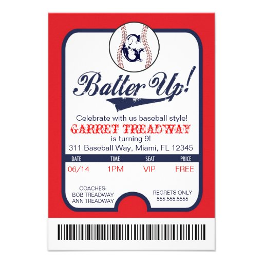 LGC Batter Up Baseball Ticket Celebration/Birthday Custom Announcement