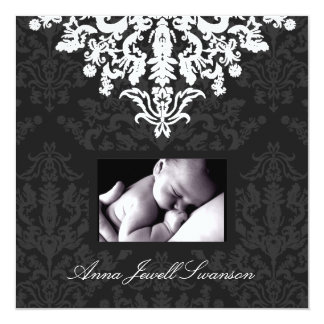 LGC | Charcoal / Posh Baby Announce with Thanks Card