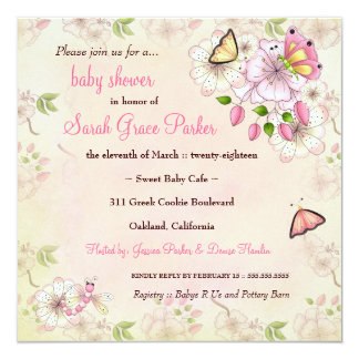 "LGC Garden Baby Shower 5.25"" Square Invitation Card"