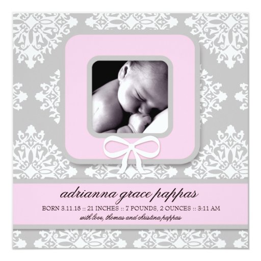 LGC   Gray & Pink Damask Girl Announcement
