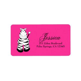 LGC Hot Pink Zebra Personalized Address Label