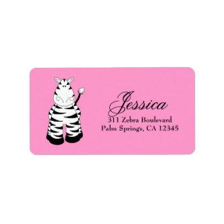 LGC Pink Zebra Personalized Address Label