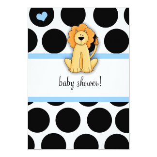 LGC | Polka Dotted Lion Baby Shower 5x7 Paper Invitation Card