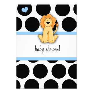 LGC | Polka Dotted Lion Baby Shower Personalized Announcement