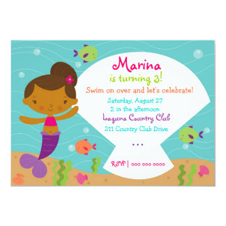 "LGC The Merry Mermaid  African American 5"" X 7"" Invitation Card"