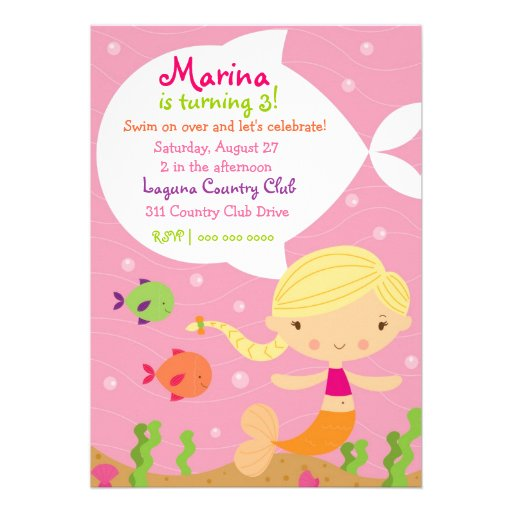 LGC The Merry Mermaid Blonde Personalized Announcement