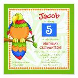 "LGC | Tropical Parrot-dise Invitation 5.25"" Square Invitation Card"