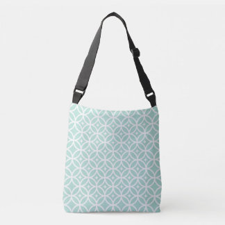Lght Blue and White Circle and Star Pattern Crossbody Bag