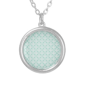 Lght Blue and White Circle and Star Pattern Silver Plated Necklace