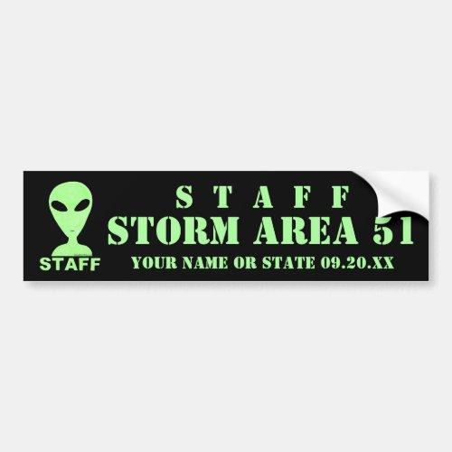 LGM Staff Alien Humor Geek Storm Area 51 Event Bumper Sticker