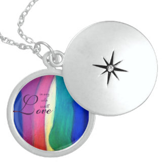 "LGTB Rainbow pendant.  ""Love In Any Color Is..."" Locket Necklace"