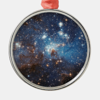 LH 95 in the Large Magellanic Cloud Round Metal Christmas Ornament