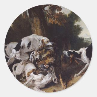 L'hallali du loup by Jean-Baptiste Oudry Classic Round Sticker